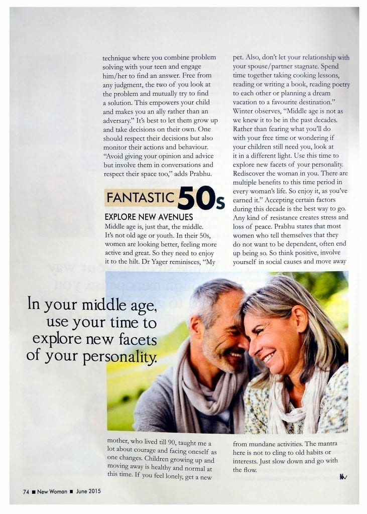 Life Lessons: Journalist Aruna Rathod interviews Susan for tips on vibrant living for women in their 30's, 40's, and 50's for New Woman Magazine.